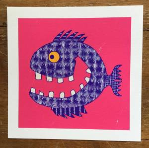 drawing of blue fish with big smile and teeth