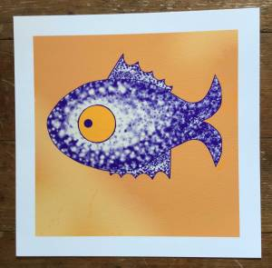 drawing of blue fish with big eye