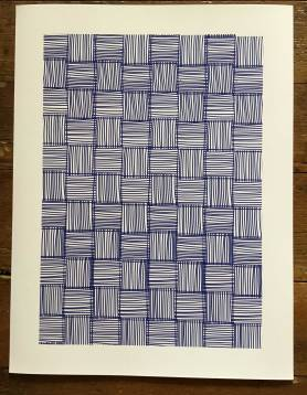 monochrome blue lines on white background. The overall pattern resembles a piece of weaving, but individually the pattern is made up of squares filled with lines. The squares alternate between horizontal lines and vertical lines. The blue lines get heavier towards the bottom of the page.