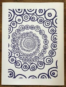 A large circle of ever-decreasing circles made of circles within circles, disappearing at a central point. Circles drawn digitally with blue pen effect on a white background