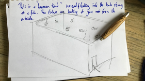 "Audio Description: pencil sketch of a human standing inside a glass fish tank, the human is reaching out their hands and touching the glass of the tank. Two fish are swimming towards the glass when his hands touch it. In the bottom right corner through the glass of the tank there is a fish tank style ornament of a castle. Finn's handwritten text in blue pen at the top of the page reads: ""fishes are looking at you from the outside of the tank. All fishes are animated in a paper."" At the bottom on the page Finn has written: ""Flickering movement. They are all behave differently. Some are shy, some are bashful. Some let you stroke it. You can feel it through the haptic technology."""