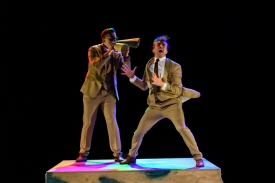 """London, UK. 09.10.19. Deaf Men Dancing present """"Time"""", a triple bill of work, comprising """"Hear! Hear!"""", """"TEN"""" and """"The Progress Score"""", as part of Greenwich Performs, at Laban Theatre, Greenwich, on the 9th and 10th October. The piece shown is: TEN, choreographed by Mark Smith and re-created by Joseph Fletcher. Lighting design is by Jonathan Samuels, with costume and set design by Ryan Dawson Laight.The dancers are: Joshua Kyle-Cantrill (Mutt), Aaron Rahn (Jeff)."""