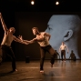 """London, UK. 09.10.19. Deaf Men Dancing present """"Time"""", a triple bill of work, comprising """"Hear! Hear!"""", """"TEN"""" and """"The Progress Score"""", as part of Greenwich Performs, at Laban Theatre, Greenwich, on the 9th and 10th October. The piece shown is: """"Hear! Hear"""", based on the original choreography by Mark Smith, new version re-created & re-imagined by Joseph Fletcher. Lighting design is by Jonathan Samuels, with costume and projection design by Ryan Dawson Laight. The dancers are: Aaron Rahn, Joe Porton, Joshua Kyle-Cantrill & Joseph Fletcher."""