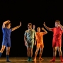 """London, UK. 09.10.19. Deaf Men Dancing present """"Time"""", a triple bill of work, comprising """"Hear! Hear!"""", """"TEN"""" and """"The Progress Score"""", as part of Greenwich Performs, at Laban Theatre, Greenwich, on the 9th and 10th October. The piece shown is: The Progress Score, choreographed by Mark Smith. Lighting design is by Jonathan Samuels, with costume design by DMD. The dancers are: 'Liam' - Joseph Porton 'George' - Joseph Fletcher 'Dennis ' - Aaron Rahn 'Kyle' - Joshua Kyle-Cantrill. Photograph © Jane Hobson."""